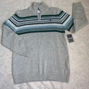 Boys IZOD Gray Sweater With zipper size XL 14-16